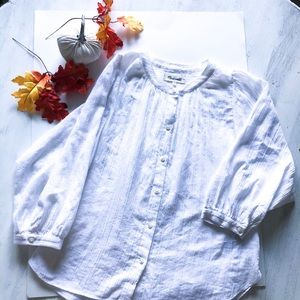 🌵Madewell White Pin Tuck Button Down Blouse